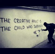 Banksy / the creative adult is the child who survived. Gave me the idea of doing the top half of my final piece in the style of Banksy Banksy Art, Bansky, Street Art Graffiti, Graffiti Artists, Street Artists, Urban Graffiti, Quote Art, Urban Art, Beautiful Words