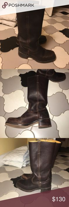 Frye motorcycle boots In amazing condition. These were hardly worn at all. Dark brown leather and so hot! They are so well made and in near perfect condition Frye Shoes Combat & Moto Boots