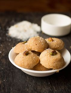 Eggless Coconut Cookies Recipe - No Butter cookies, Easy, delicious, crunchy from outside and soft from within Coconut Biscuits, Coconut Cookies, Cookie Recipe No Butter, Easy Cookie Recipes, Dessert Recipes, Delicious Desserts, Baking Power, Bottle Cake, Indian Sweets