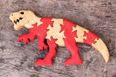 Gift for kids Wooden toy animal game Dinosaur T-Rex Dinosaur Puzzles, Dinosaurs, Intarsia Patterns, Animal Puzzle, Intarsia Woodworking, Scroll Saw Patterns, Animal Games, Wooden Decor, Creative Play
