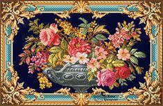 Decoupage Vintage, Decoupage Paper, Cross Stitch Flowers, Cross Stitch Patterns, Vintage Valentine Cards, Flower Canvas, Flower Template, Canvas Designs, Botanical Flowers