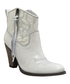 Love this White Embellished Tomstone Leather Ankle Boot on #zulily! #zulilyfinds
