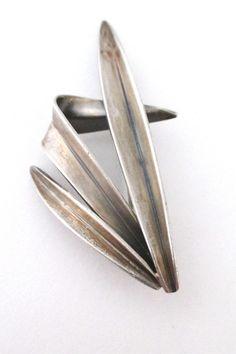 Anton Michelsen Denmark Scandinavian silver grass brooch by Gertrude Engel