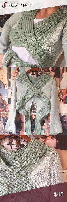 Hand knitted crop sweater My mom is the most wonderfully talented knitter! This is one of her beautiful creations--pale green with darker trim. The cross-cross over the bust wraps around the waist and ties in the front. It's only been worn once or twice bc, as you can see, by boobs are just a bit too big for it lol! Long bell sleeves. Mum's Knitwear Sweaters
