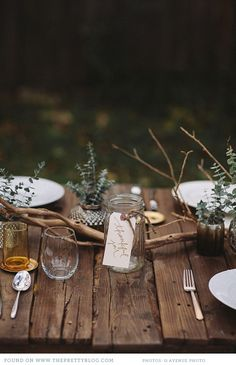 Inspire Wedding | Woods | Inspiration, forest, tree, woodland - Baby Its Cold Outside - outdoor wedding table setting