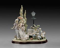 """A Stroll In The Park""  Limited edition (released in 1987.) It features beautiful ladies on their stroll in the park.  SCULPTOR: Salvador Debon  SIZE: 16 1/4 x 15 3/4  Circa 1987. The 2006 Lladro Authorized Reference Guide lists this as last retail price $2600. (Its issue price was $1600.00) Item ID: A4916"