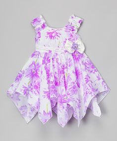 Another great find on #zulily! Purple Floral Handkerchief Dress - Toddler & Girls #zulilyfinds