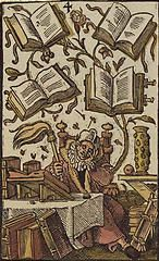 'The Four of Books', coloured woodcut from Jost Amman's 'Charta lusoria...