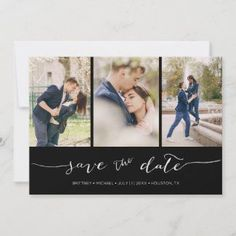 Hand Lettered 3 Image Black Save The Date