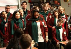 """S2E10 - A Very Glee Christmas:  The New Directions singing """"We Need A Little Christmas"""" in a classroom... FAIL! lol"""