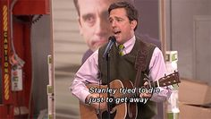"""Stress Relief One of the times I actually really liked Andy Bernard. """"what we hate about you. you really suck as a boss. Tv Shows Funny, Best Tv Shows, Best Shows Ever, Office Memes, Office Quotes, Funny Office, Best Of The Office, The Office Show, The Office Stickers"""