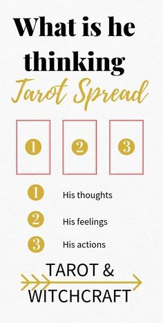 """What is he Thinking Tarot Spread. What the hell is he thinking? Use this """"what is he thinking spread"""" to determine your lover's thoughts and feelings about your relationship. Tarot for beginners. Love Tarot Spread, Relationship Tarot, Tarot Cards For Beginners, Tarot Card Spreads, Tarot Astrology, Tarot Card Meanings, Card Reading, Tarot Cards Reading, Love Tarot Reading"""