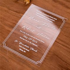 Janice Paper Modern Foil Crest Acrylic Card Acrylic Invitations – Save d. Unique Wedding Stationery, Wedding Invitation Trends, Laser Cut Wedding Invitations, Invitation Design, Acrylic Invitations, Types Of Printing, Get One, Card Stock, Sculpture