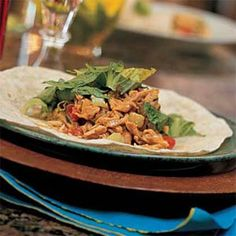 Ginger-Peanut Chicken Salad Wraps.  I always have some chopped cooked chicken on hand in the freezer for this great dish.  It's also great without the tortilla, just serve over greens.  Ginger-Peanut Chicken-Salad Wraps | MyRecipes.com