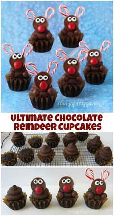Decorate the ultimate chocolate cupcakes with peanut butter cup reindeer with candy cane antlers. See the tutorial at HungryHappenings. Christmas Deserts, Christmas Goodies, Holiday Desserts, Holiday Baking, Holiday Treats, Holiday Recipes, Christmas Chocolate, Christmas Cakes, Christmas Christmas