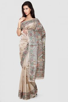 Pearl Madhubani Hand Painted Tussar Silk Saree
