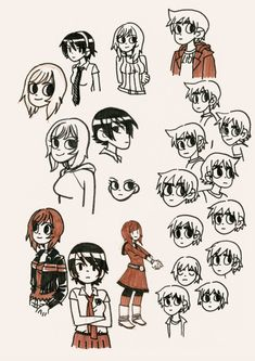 Character perspectives by Bryan Lee O'Malley Drawing Reference Poses, Art Reference, Drawing Tips, Cartoon Styles, Cute Cartoon, Cartoon Girls, Scott Pilgrim Comic, Bryan Lee O Malley, Arrow Tv Shows