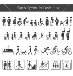People pictogram signs and symbols for public area vector by ...