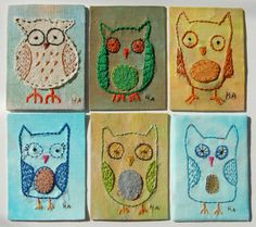 Embroidered owl cards Pinned by www.myowlbarn.com