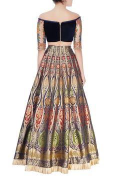Blue printed lehenga & off shoulder blouse Choli Designs, Bridal Blouse Designs, Lehenga Designs, Saree Blouse Designs, Indian Wedding Outfits, Indian Outfits, Lehnga Dress, Lehenga Choli, Heavy Dresses