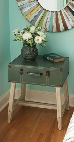 Reperposed Suitcase Table, maybe make a good dressing table with mirror in lid?.