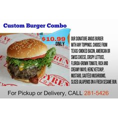 Custom Burger Combo Our signature Angus burger with any toppings. Choose from Texas-smoked bacon, American or Swiss Cheese, Crispy lettuce, Florida-grown tomato, rich and creamy mayo, Heinz Ketchup, mustard, sauteed mushrooms, sliced jalapenos on a fresh sesame bun. $10.99  ************************************************* Order Online Now ➡️ www.GyreneBurger.com 281-5426  #Happy1stYear #GyreneBurger1stYear #burger #knoxville #burgers #fortsanders #tennessee #cumberland #Gyrene…
