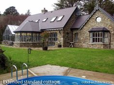 Design variation of our standard cottage design with extensions to both sides along the shore of Bantry Bay in Ireland. Cottage Design, House Design, Simple Style, Architects, Extensions, Ireland, Deck, Outdoor Decor, Home Decor
