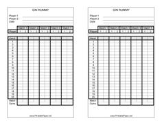 Gin rummy score sheet paper fun and games pinterest gin