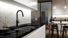 With its hexagonal backsplash, this masculine kitchen highlights its matte black tap in a warm evening atmosphere. Bar Faucets, Kitchen Sink Faucets, Kitchen Handles, Masculine Kitchen, Pot Filler Faucet, Urban Kitchen, Black Taps, Kingston Brass, Building A House