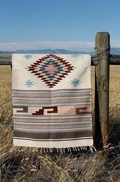 This looks wonderful in the great outdors! Vintage Wool Navajo Style Saddle Blanket or Rug Woven Ethnic