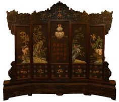 18th C CHINESE ZITAN WOOD IMPERIAL THRONE SCREEN  A large 5 panel throne screen made from Zitan wood. This throne was possibly given as a wedding presentation for someone of high imperial status.