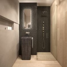 This minimalist Bathroom by FAMM DESIGN made the most out of limited space. There's more small bathroom ideas in the article for you to check out. Tiny Bathrooms, Cheap Bathrooms, Beautiful Bathrooms, Bathroom Small, Minimalist Small Bathrooms, Minimalist Bathroom Design, Design Bathroom, Minimalist Design, Bad Inspiration