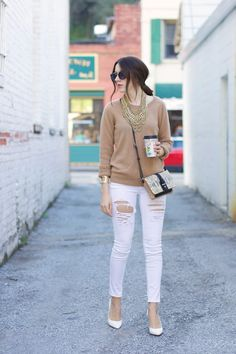 bauble bar statement necklace, tan cashmere sweater, white ripped jeans, jessica simpson white pumps // Elements of Ellis
