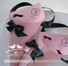 Easy to DIY paper cones! Love love love the monogramming for our wedding.