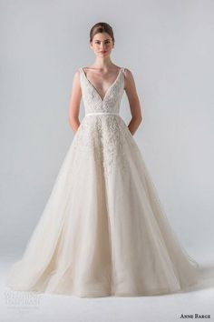 anne barge spring 2016 couture bridal versailles sleeveless a line tulle wedding dress plunging v neck tone on tone beading sheer beaded back / http://www.himisspuff.com/v-neck-wedding-dresses/