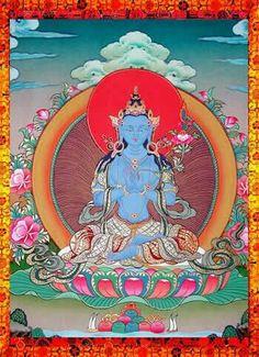 "Akashagarbha, ""essence of space,"" bodhisattva of wisdom & knowledge whose emblem is a moon"