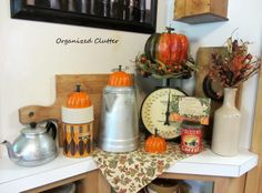 A Fall Kitchen Vignette With Jello Mold Re-Purposed Pumpkins