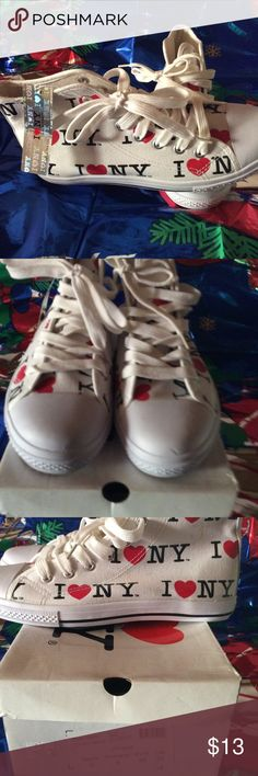 New women's sneakers high tops size 8 New women's sneakers high tops in white with Red/black I luv ny I love Ny Shoes Sneakers