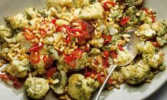 fried cauli with pine nuts, capers and chilli. and other vegetarian meze from Yotam Ottolenghi Yotam Ottolenghi, Ottolenghi Recipes, Veggie Recipes, Vegetarian Recipes, Cooking Recipes, Healthy Recipes, Veggie Meals, Fodmap Recipes, Veggie Food