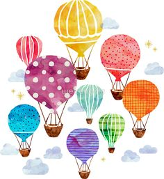 'Hot Air Balloon' Poster by weirdoodle - Gestalten - Watercolor Cards, Watercolor Paintings, Watercolor Heart, Watercolors, Watercolor Print, Painting Art, Ballon Illustration, Balloon Painting, Doodle Art