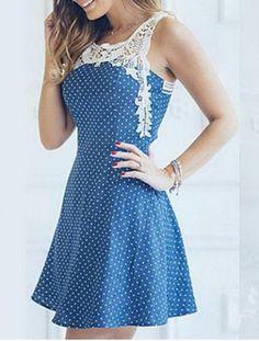 Sweet Style Scoop Neck Sleeveless Polka Dot Hollow Out Women's Dress Summer Dresses   RoseGal.com Mobile