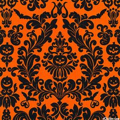 eQuilter Raven - Fright Night Damask - Carrot Orange
