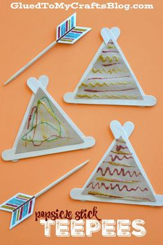 Stick Teepees - Kid Craft Popsicle Stick Teepees - Kid Craft for Thanksgiving, Native American or tents for a camping unit.Popsicle Stick Teepees - Kid Craft for Thanksgiving, Native American or tents for a camping unit. Thanksgiving Crafts For Kids, Thanksgiving Activities, Fall Crafts, Holiday Crafts, Thanksgiving Table, Daycare Crafts, Classroom Crafts, Toddler Crafts, Kids Crafts
