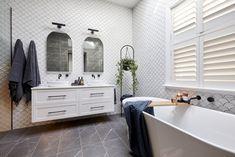 The Block 2020: Master Ensuite Reveals Bathroom Layout, Modern Bathroom, The Block Bathroom, Fish Scale Tile, Smart Toilet, Beaumont Tiles, Pink Towels, Small Bookshelf, Black Bath