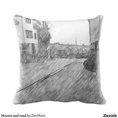 Houses and road throw pillow