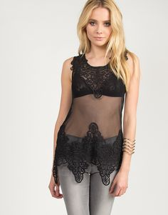 Flowy Crochet and Mesh Top - Black