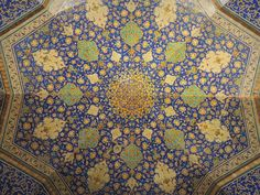 https://flic.kr/p/SybNw8 | Beautiful blue Islamic art mosaic on Imam mosque ceiling - Isfahan, Iran | [Isfahan, Iran]  Symmetric beautiful ceiling Islamic art tileworks on the top of one of the halls of the Imam mosque of Isfahan, a UNESCO world heritage site, one of the peaks of Persian Islamic architecture.   Follow my photos in Facebook   ©2017 Germán Vogel - All rights reserved - No usage allowed in any form without the written consent of the photographer.