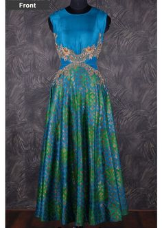 Grand brocade anarkali salwar with heavy embroidery at waist-SL6971