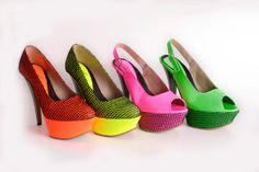 Neon green platform high heels with decorative black net