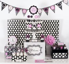 Parisian Party Mod Party Kit. $51/1 Kit. Each kit Includes: 1 Pennant Banner, 24 Invitations, 24 Address Labels, 24 Favor Tags, 3 Party Icons, 24 Water Bottle Labels, 3 Signs, 24 Mini Decor Stickers, 12 Menu Cards, 24 Cupcake Wrappers & Toppers!